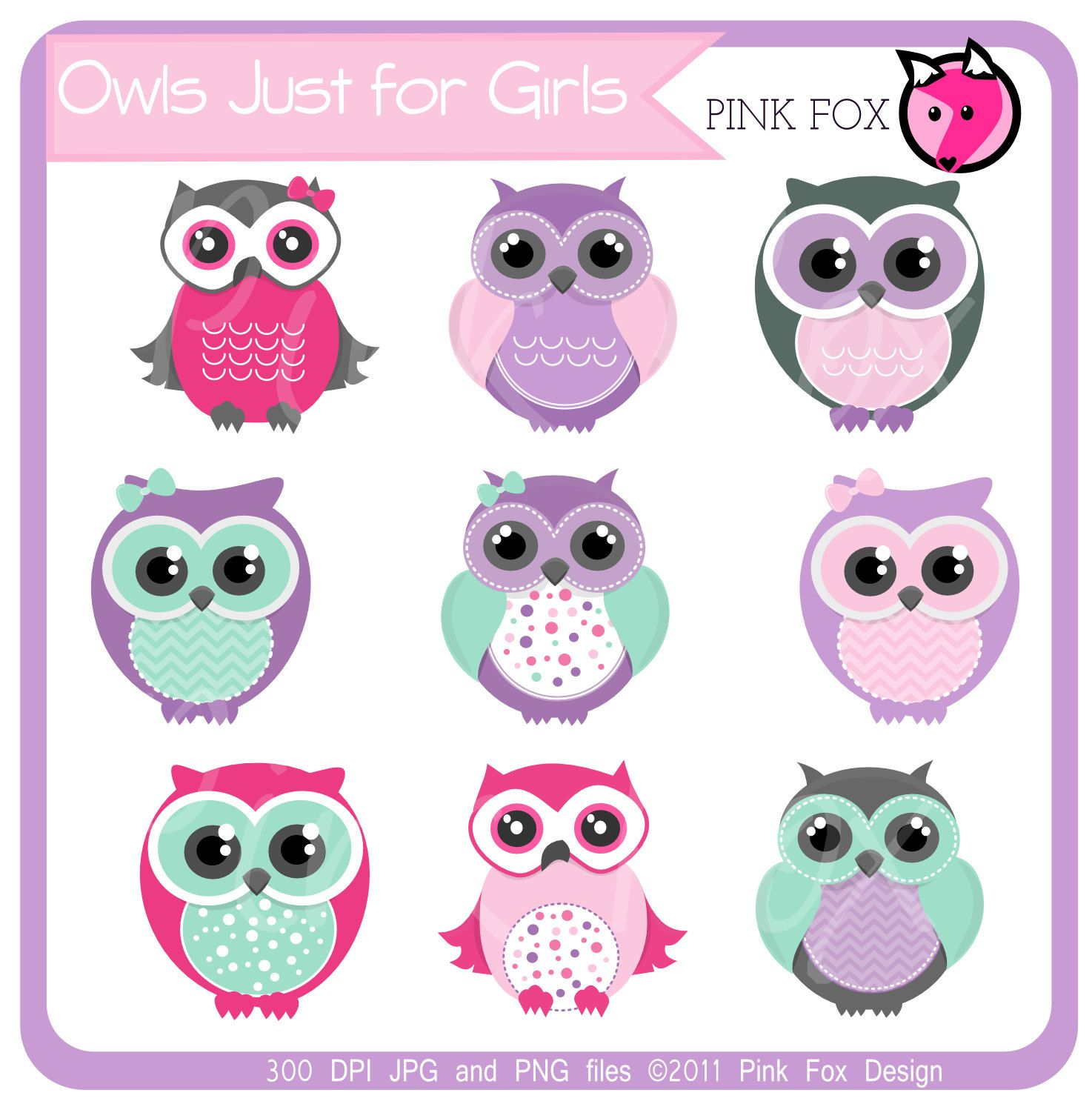 INSTANT DOWNLOAD, aqua and pink owl clipart for personal ...