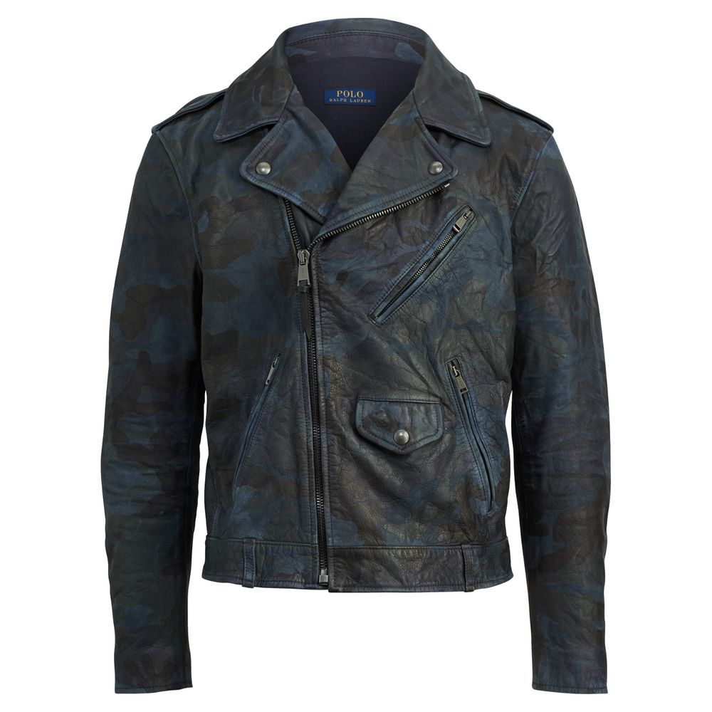 Ralph Lauren Polo Vintage Indigo Camo Leather Biker Moto Jacket New 1195 Mens Outfits Moto Biker Jacket Polo Ralph Lauren Mens [ 1000 x 1000 Pixel ]