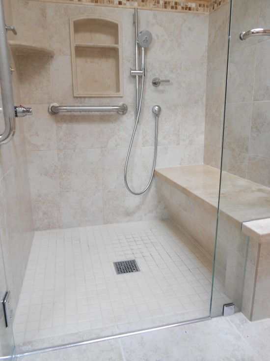Ceramic Tiles For Contemporary Shower With Glass Door And Built In Seating  Featured With Stainless Steel Appliances ✿.