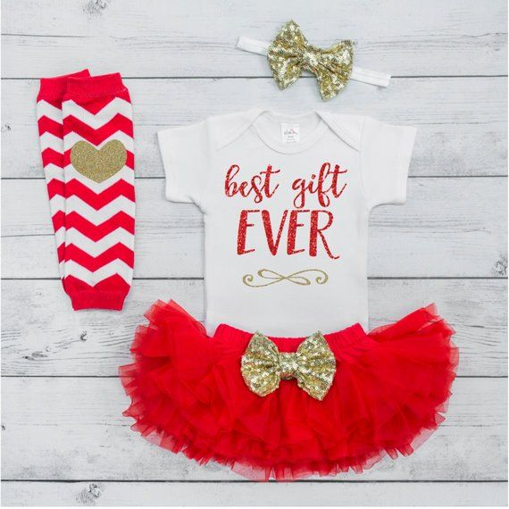 Best Gift Ever Outfit Baby First Christmas Outfit Baby Girl Christmas  Outfit 1st Christmas Outfit Ch - Best Gift Ever Outfit Baby First Christmas Outfit Baby Girl
