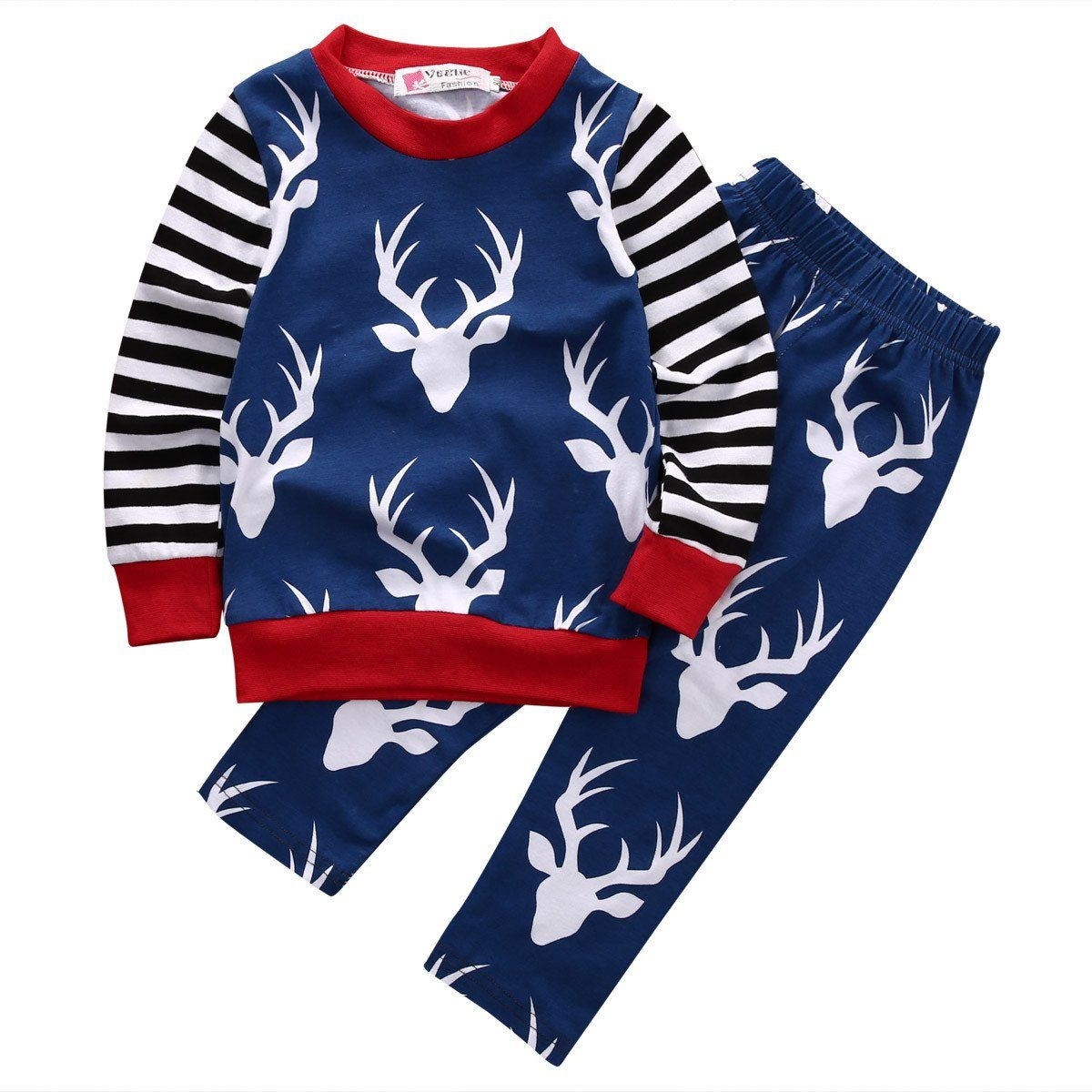 Red white deer and stripes piece outfit products pinterest