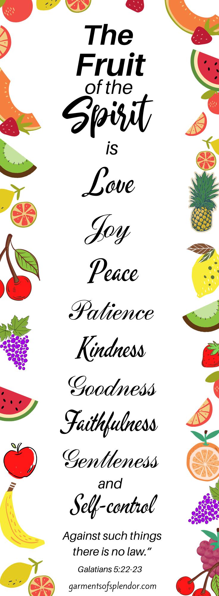 Ten Free Fruit of the Spirit Bible Printables -