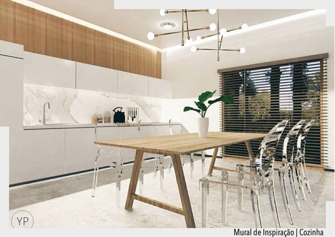 Sala De Jantar Integrada Com A Cozinha Ent O Esse Neutros E Madeira  -> Cadeiras Para Sala De Jantar Acrilico