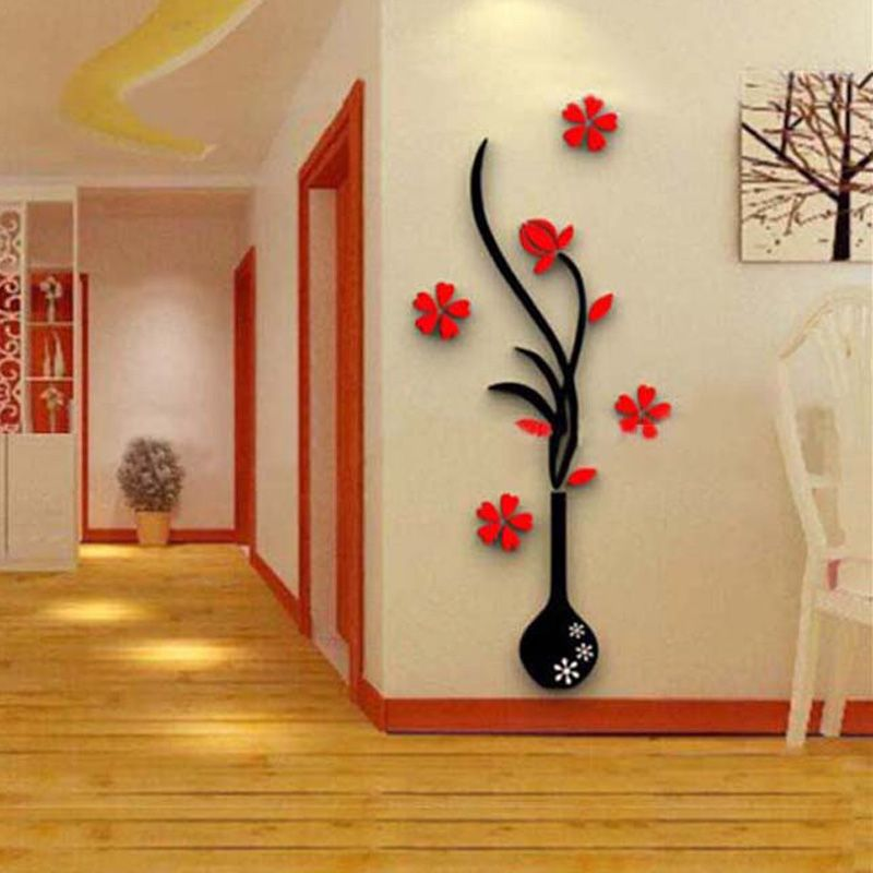 Etiqueta de la pared 3d cristal acr lico flor de moda for Paredes decoradas