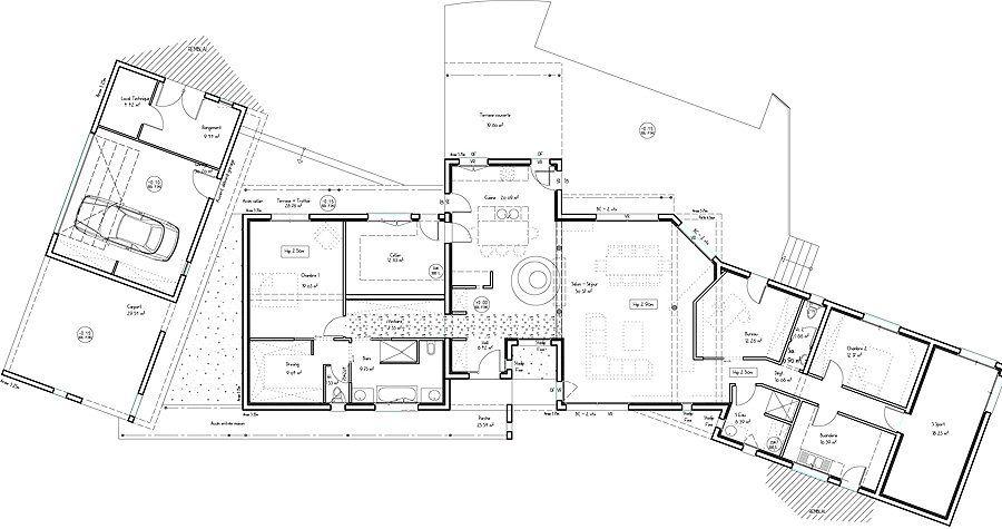 Style et design une maison d architecte d p l g garage oblique house plans maison moderne - Maison d architecte plan ...