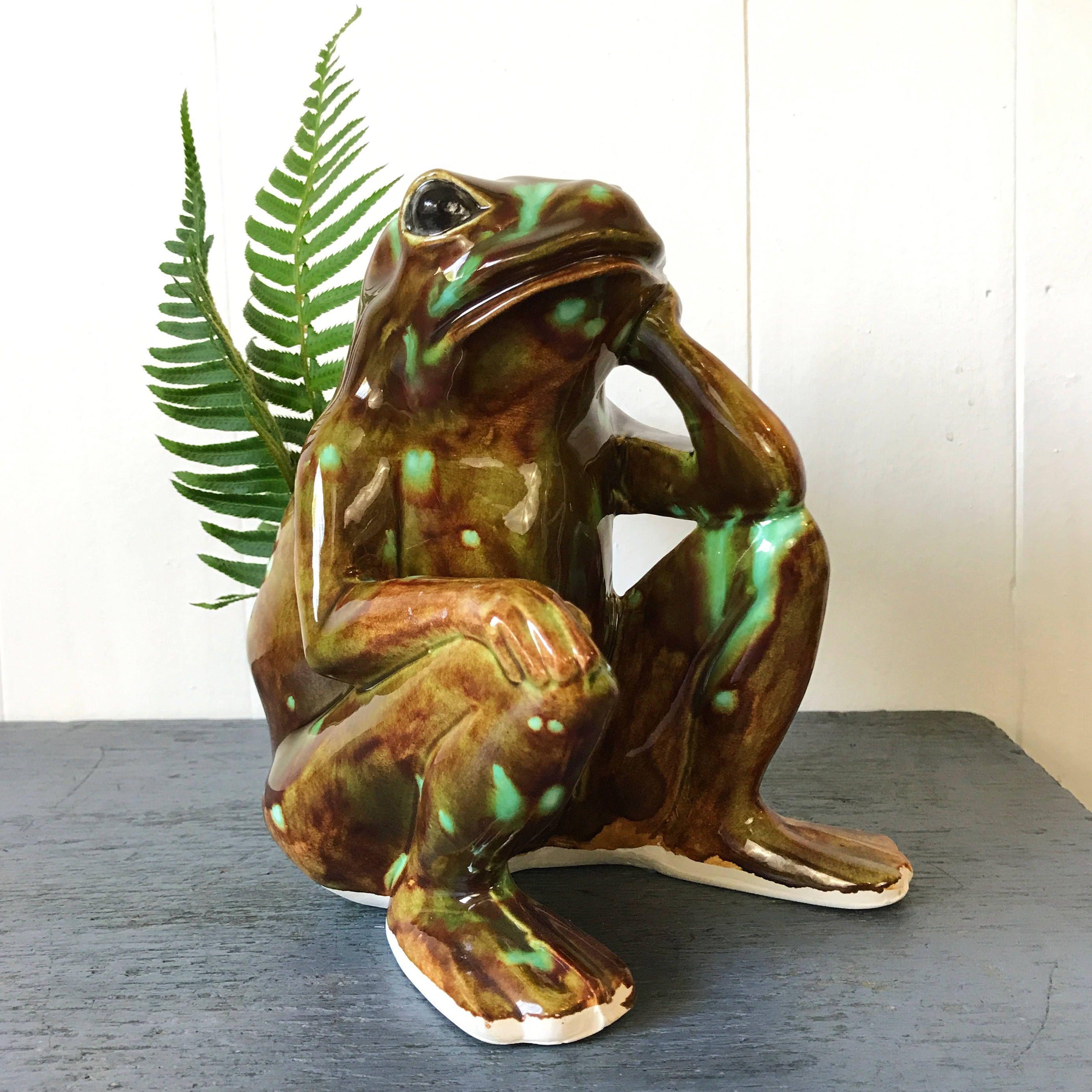 Vintage Ceramic Frog Planter Pottery Dish Whimsical Flower Pot