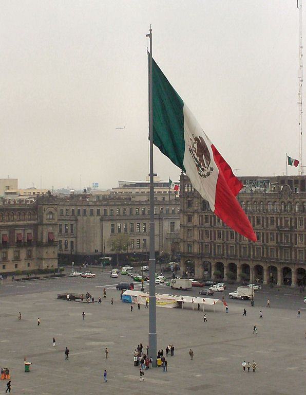 La Bandera De México. The Constitution Square Plaza De La