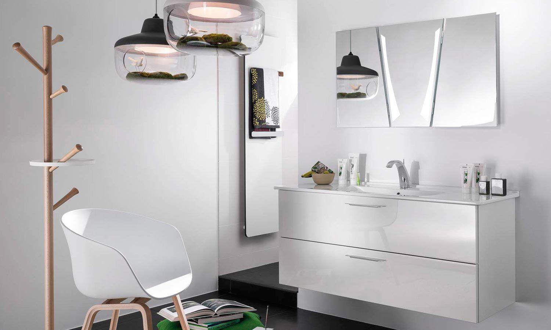 Plan Vasque Ceramique Meuble Sous Vasque Glossy Laque Blanc Et