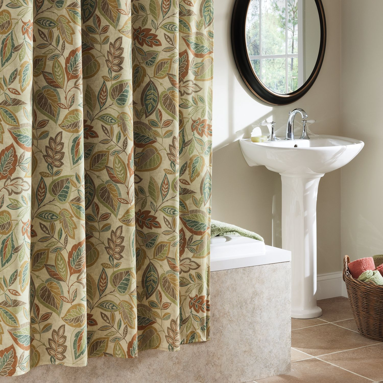 Excell Jacobean Leaf Fabric Shower Curtain In Spice Fabric