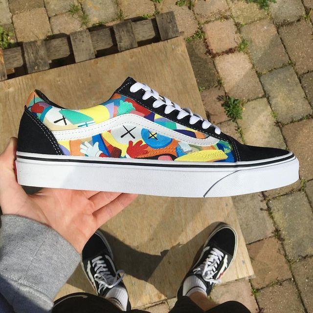 Custom Vans Authentic Old Skull Rainbow Shoes – Vans shoes