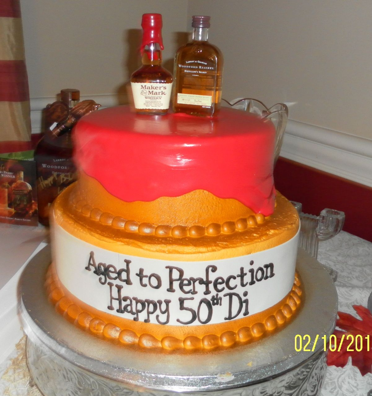 Magnificent 50Th Birthday Cake Bourbon Themed Birthday Cake From Caramandas Funny Birthday Cards Online Overcheapnameinfo