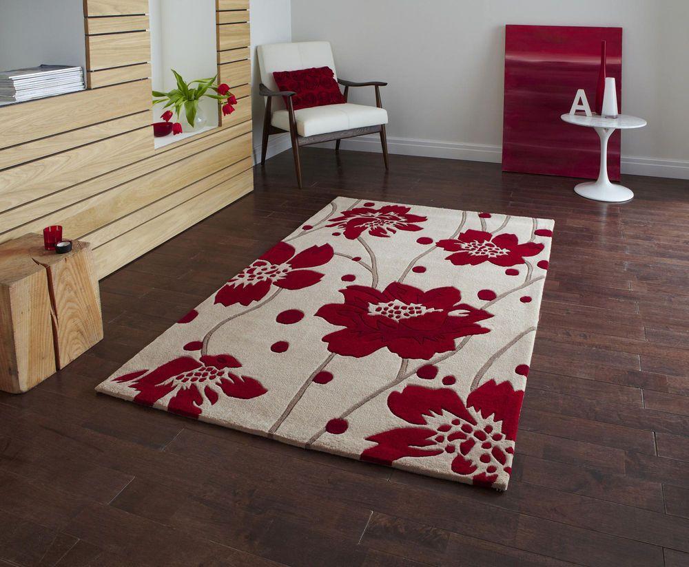 Rug Modern Fl Flower Beige Red 90x150cm Contemporary