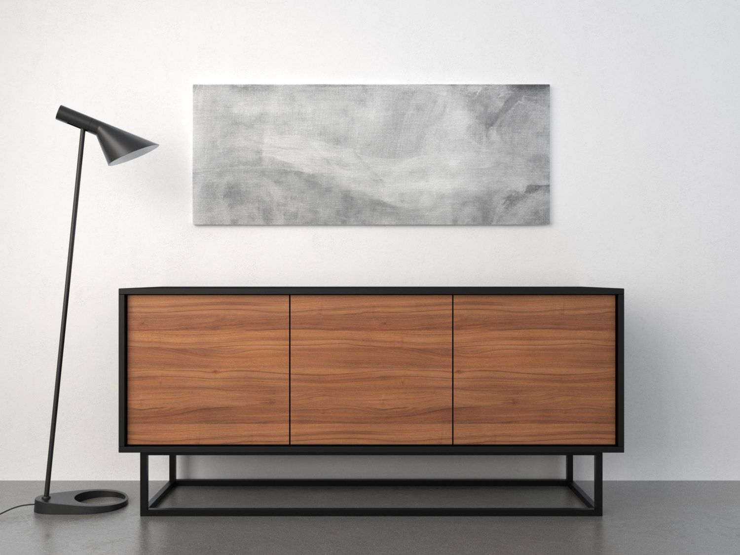 Midcentury Modern Sideboard Walnut And Black Mid Century