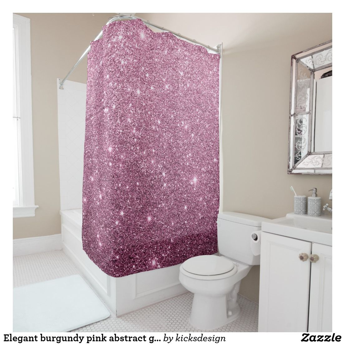 Elegant Burgundy Pink Abstract Girly Glitter Shower Curtain