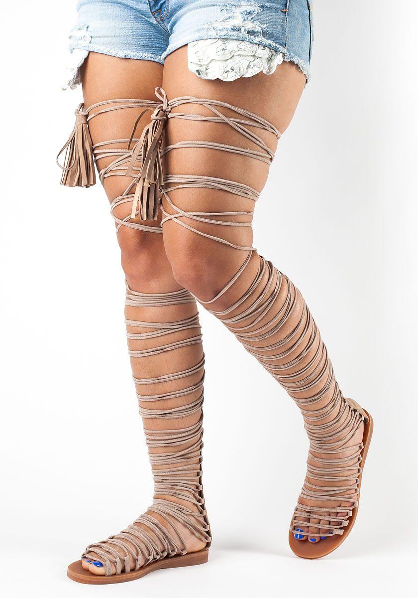 d3fd826edf1 Jeffrey Campbell - Velaria Gladiator Sandal Beige Suede - Jildor Shoes