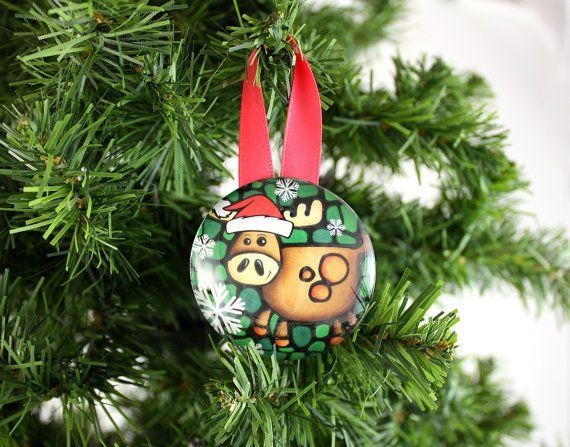 Moose Tree Ornament Handmade Glass Christmas Tree Decoration - moose christmas decorations