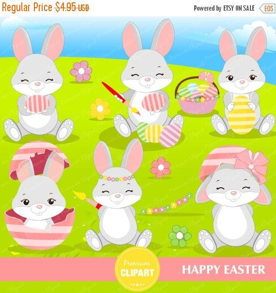 70% OFF SALE Easter clipart, Easter bunny clipart, Easter clip art, Easter eggs clipart, cute Easter clipart - CA333 by PremiumClipart on Etsy