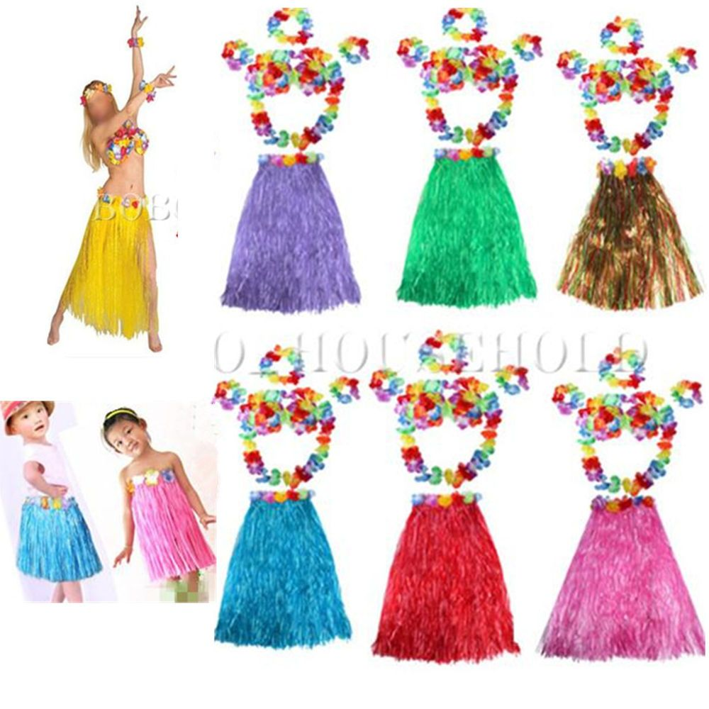 a5a3612fffd3 Women Kid Hawaiian Grass Straw Skirt Flower Hula Lei Garland Fancy Dress  Costume | eBay