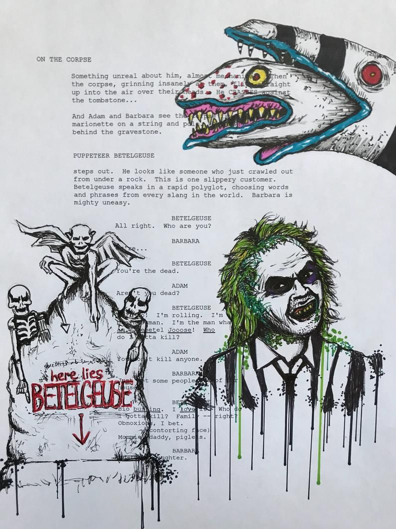 Original Beetlejuice Drawing On A Script Page Tim Burton Movie