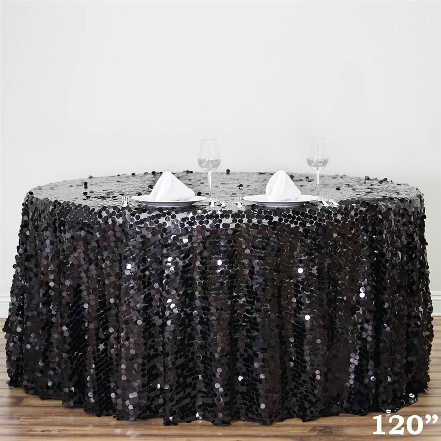 120 Black Big Payette Xl Sequin Round Tablecloth Sequin