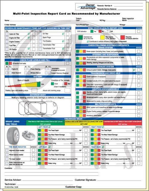 Multi Point Inspection Report Card Download Vehicle Inspection