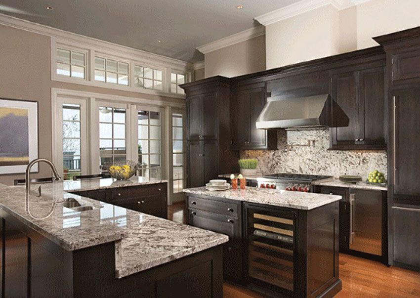 dark oak kitchen cabinets. Beautiful Dark Wood Cabinet Kitchen With Light Color Granite Counters And  Stainless Fixtures 50 High End Dark Wood Kitchens Photos Cabinets