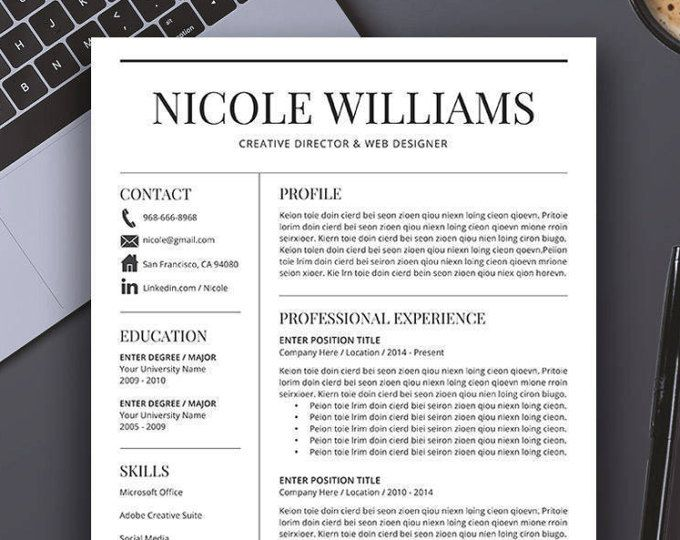Professional Resume Template, Cover Letter, US Letter, A4, CV