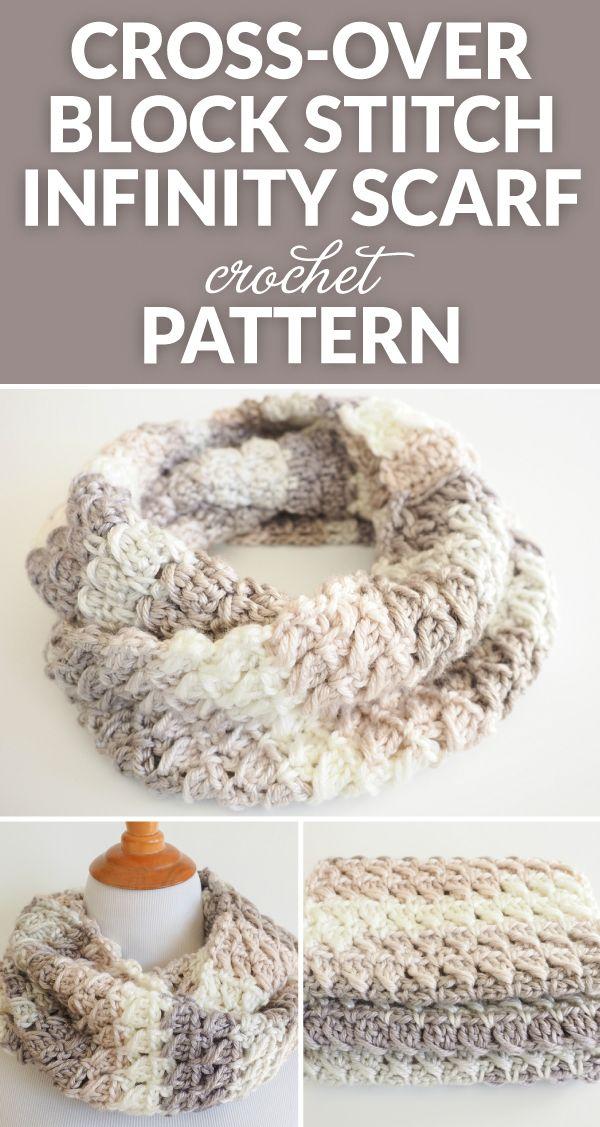 Cross-Over Stitch Infinity Scarf Crochet Pattern | Tejido, Ganchillo ...