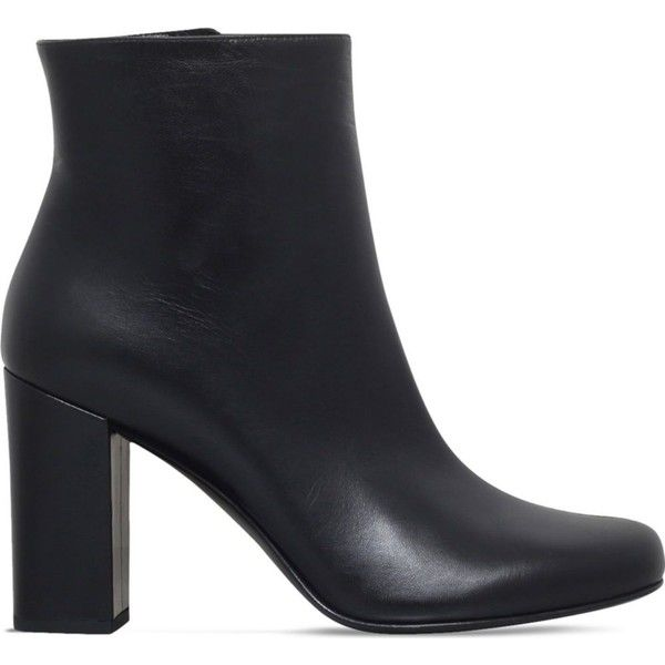 SAINT LAURENT Babies 90 leather heeled ankle boots ($705) ❤ liked on Polyvore featuring shoes, boots, ankle booties, stacked heel booties, leather heel booties, high heel booties, leather booties and short leather boots
