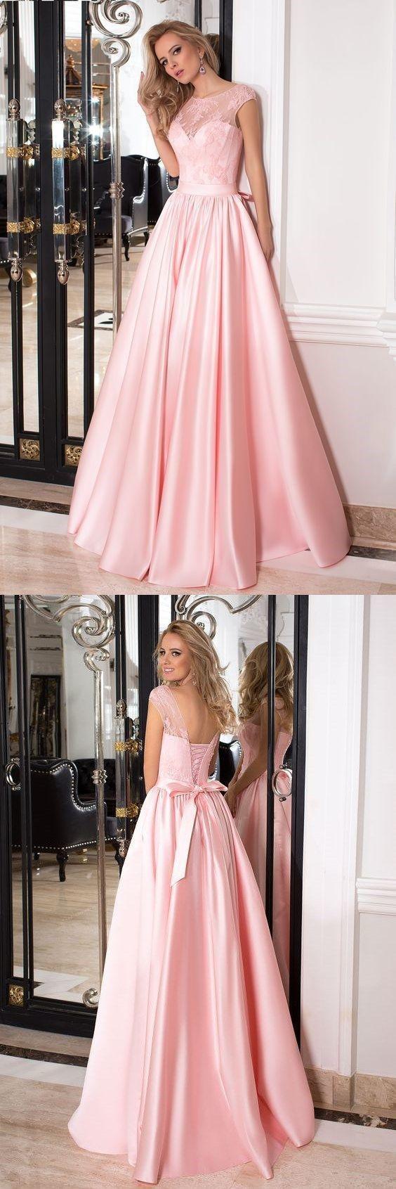 Elegant aline pink long satin prom dress party dress ekkor