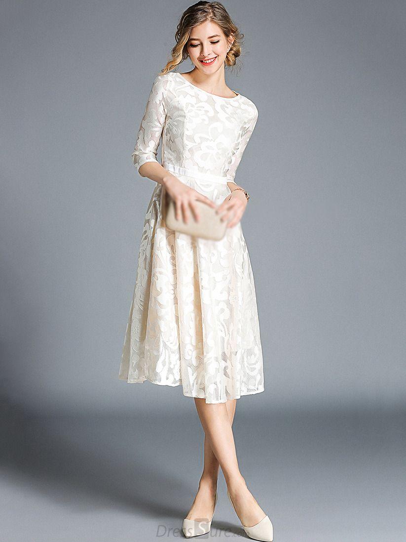 e7f59792ecb Embroidery Lace O-Neck 3 4 Sleeve A-Line Dress