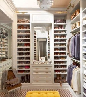Master Bedroom Boudoir Wardrobe Design With Tufted Bench And Shoe  Storage