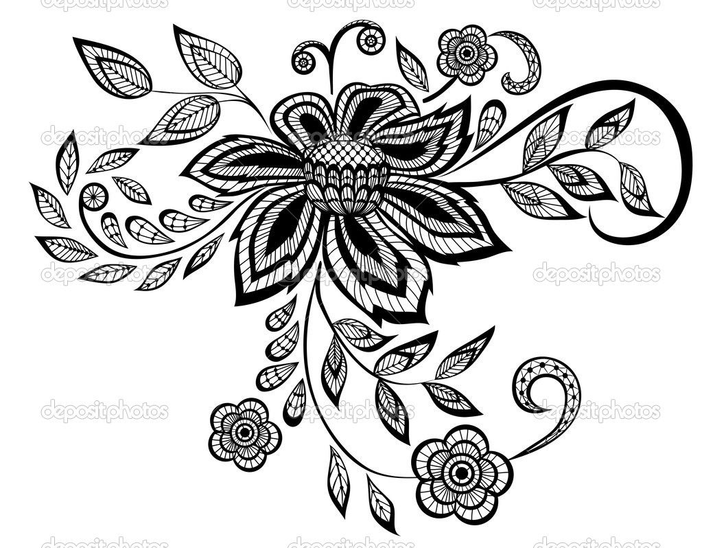 Simple Black And White Flower Beautiful Floral Pattern Design Element Stock