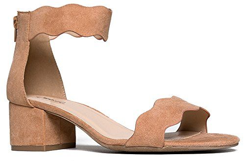 563fd4df96b Suede Open Toe Ankle Strap Sandal Trendy Kitten Heel Shoe Low Block Formal  Heel Mimi by J Adams Blush Suede 6 BM US -- Details can be found by  clicking on ...