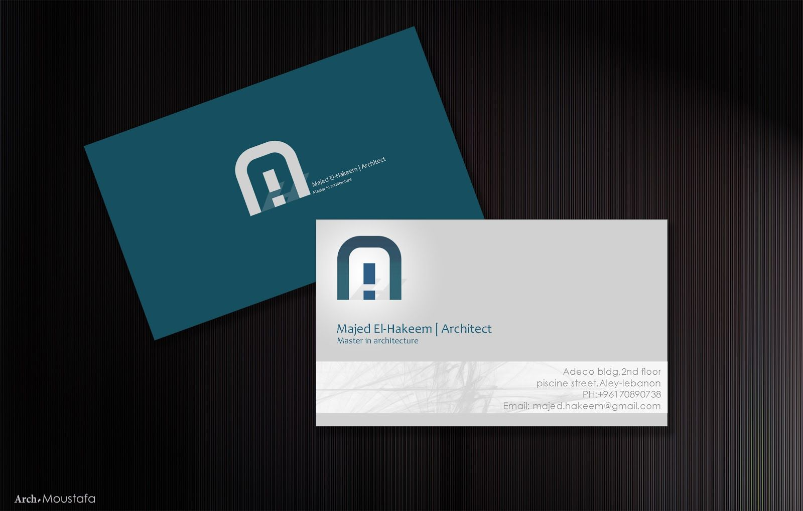 Architect Majed El-hakeem business card & logo |by Blu phi graphics ...
