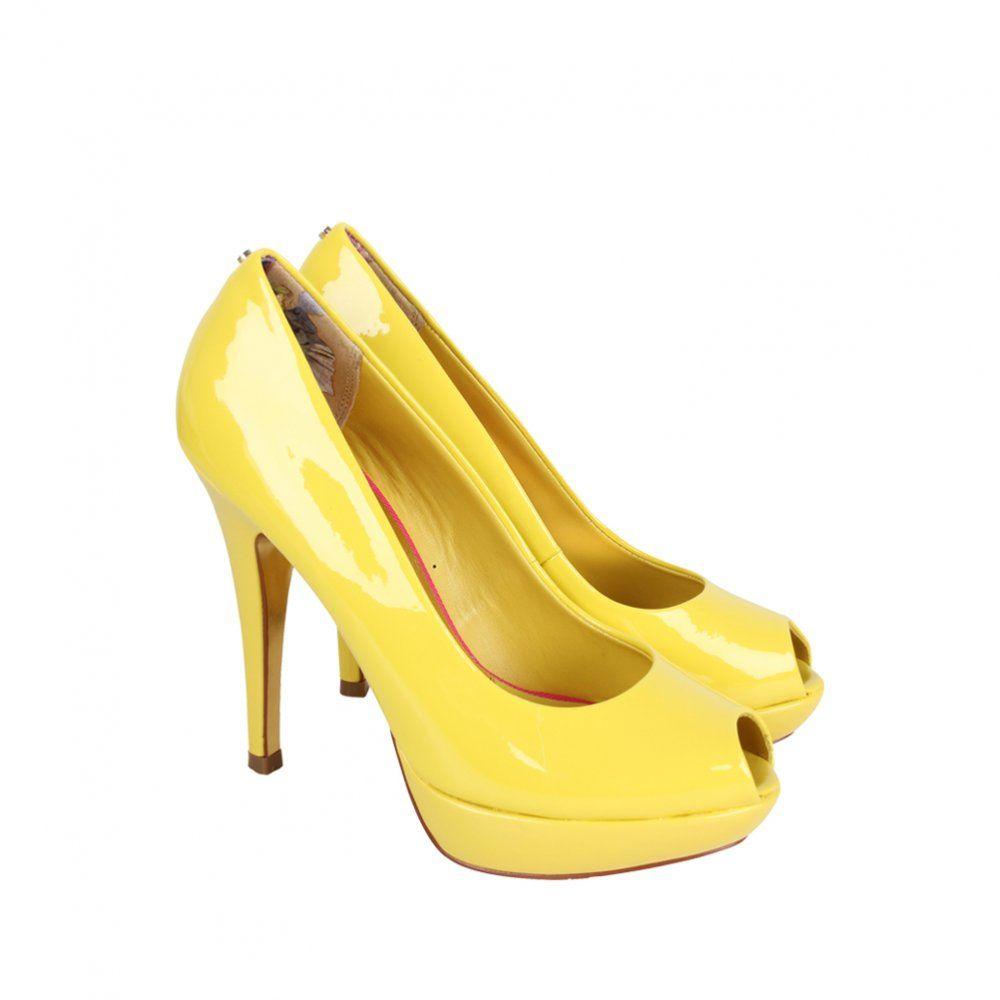 Ted Baker Womens Yellow Patent Peep Toe Heeled Shoes  05e0e31d2a