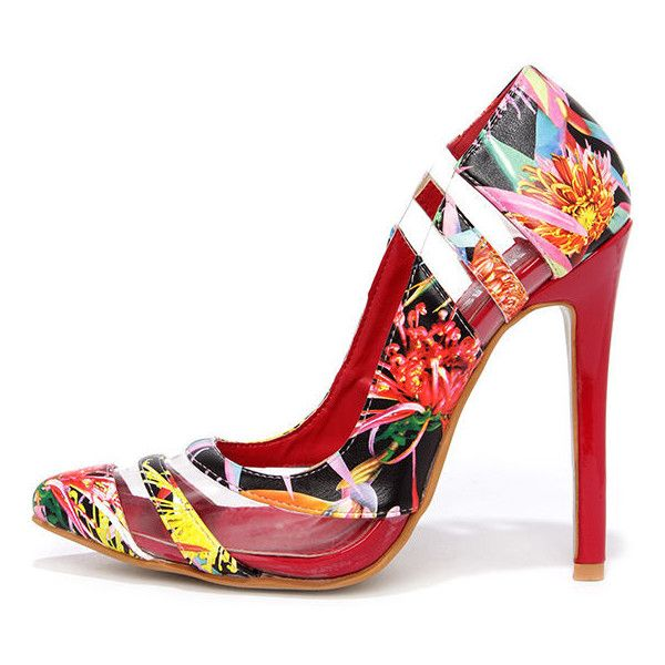 Hybrid Species Floral Print Pumps ($29) ❤ liked on Polyvore featuring shoes, pumps, red, red shoes, high heels stilettos, high heel shoes, clear pointed toe pumps and clear pumps