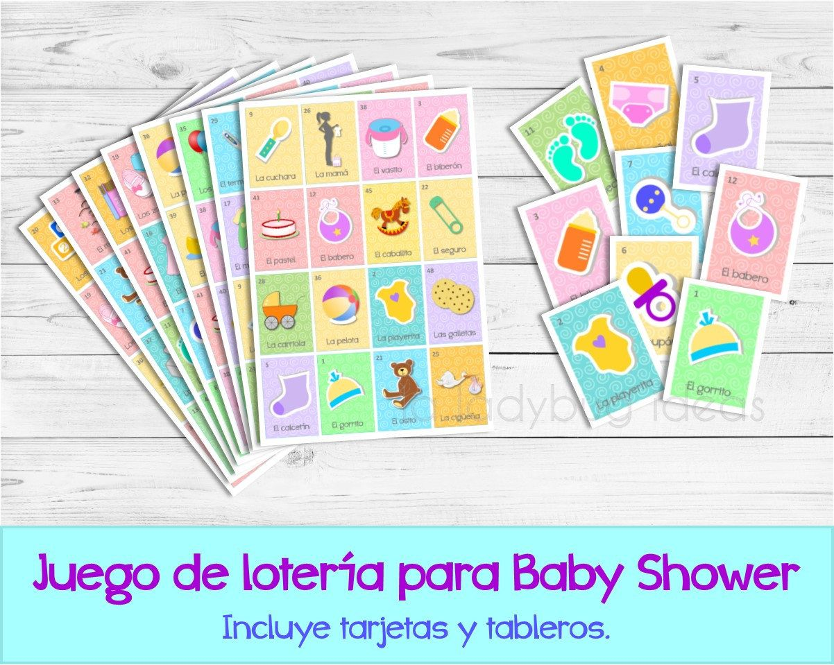 Baby Loteria Lotera Para Baby Shower Mexican Lottery Game For