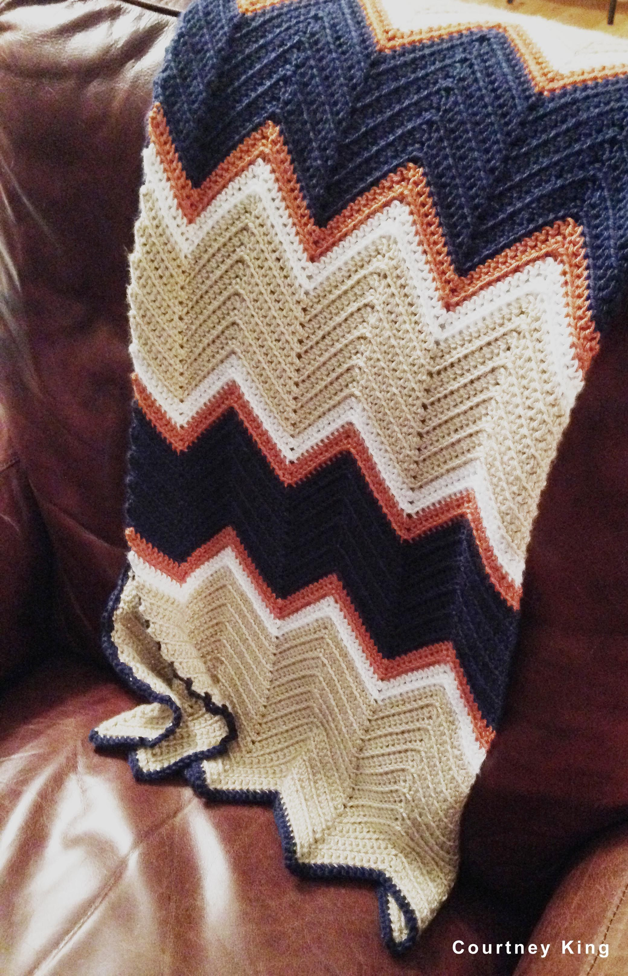The finished baby blanket (chevron pattern-crocheted) I made for my ...