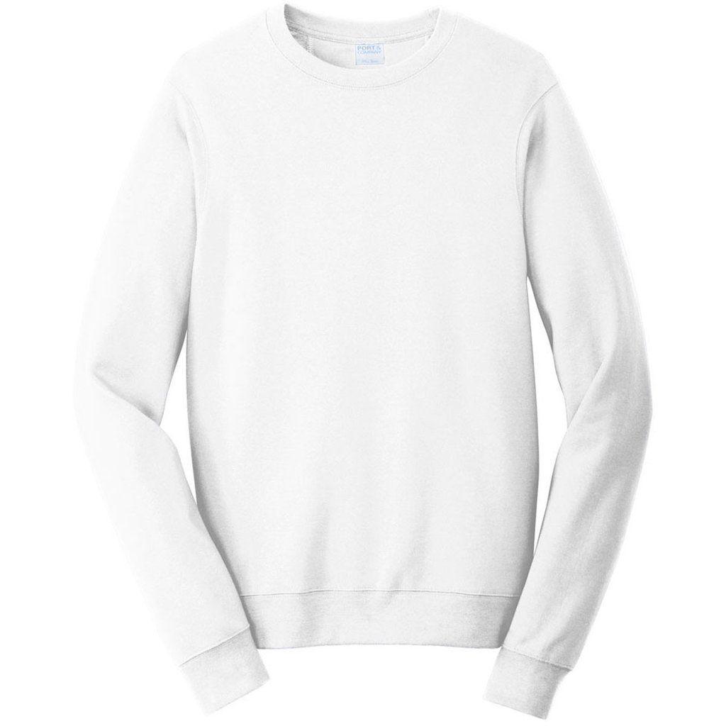 Port Company Men S White Fan Favorite Fleece Crewneck Sweatshirt Sweatshirts Crew Neck Sweatshirt Port Company [ 1024 x 1024 Pixel ]