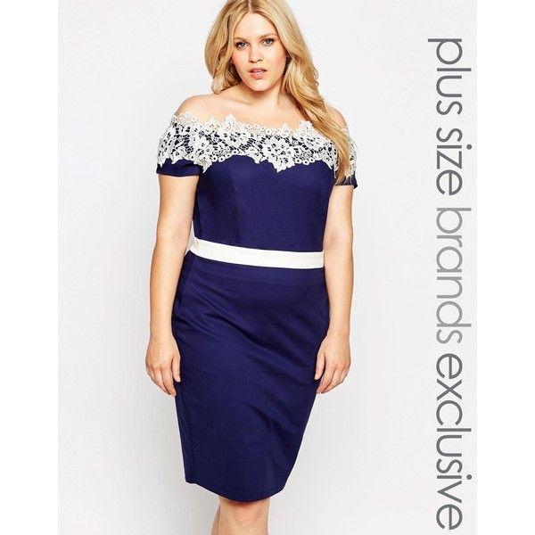 Plus size navy lace cocktail dress