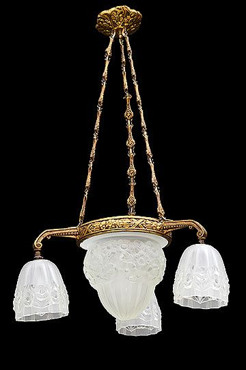 Vintage French Degue 3-Arm Chandelier