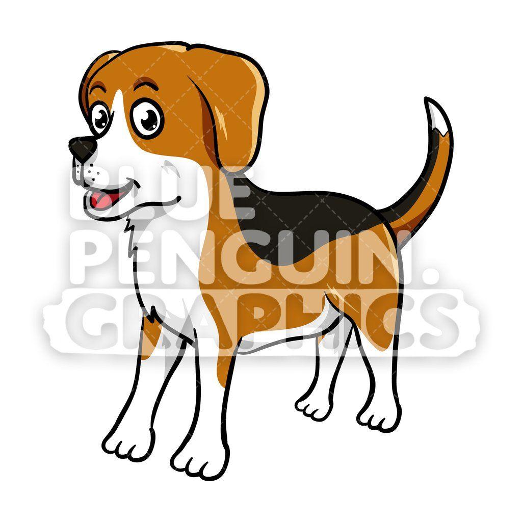 Beagle Standing Vector Cartoon Clipart Dog Artwork Cartoon Dog