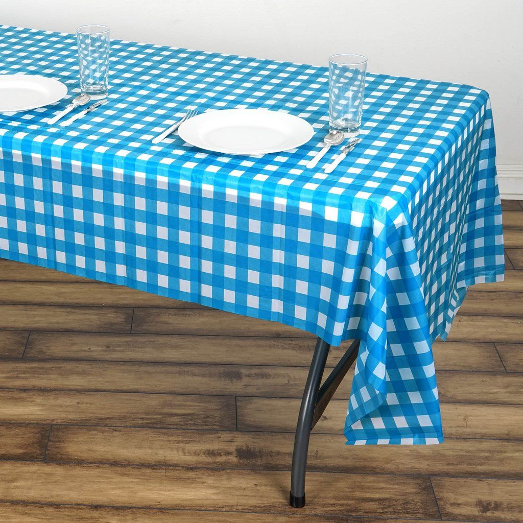 Buffalo Plaid Tablecloth 54 X 108 White Serenity Blue Rectangular Spill Proof Tablecloths Disposable Checkered Vinyl Waterproof Tablecloths In 2020 Picnic Table Covers Blue Table Plastic Table Covers