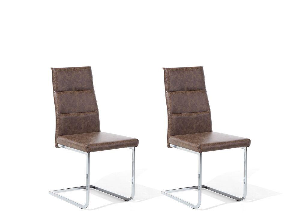 Lot De 2 Chaises En Simili Cuir Marron Clair Rockford Beliani Fr En 2020 Simili Cuir Chaise D Exterieur Cuir Artificiel