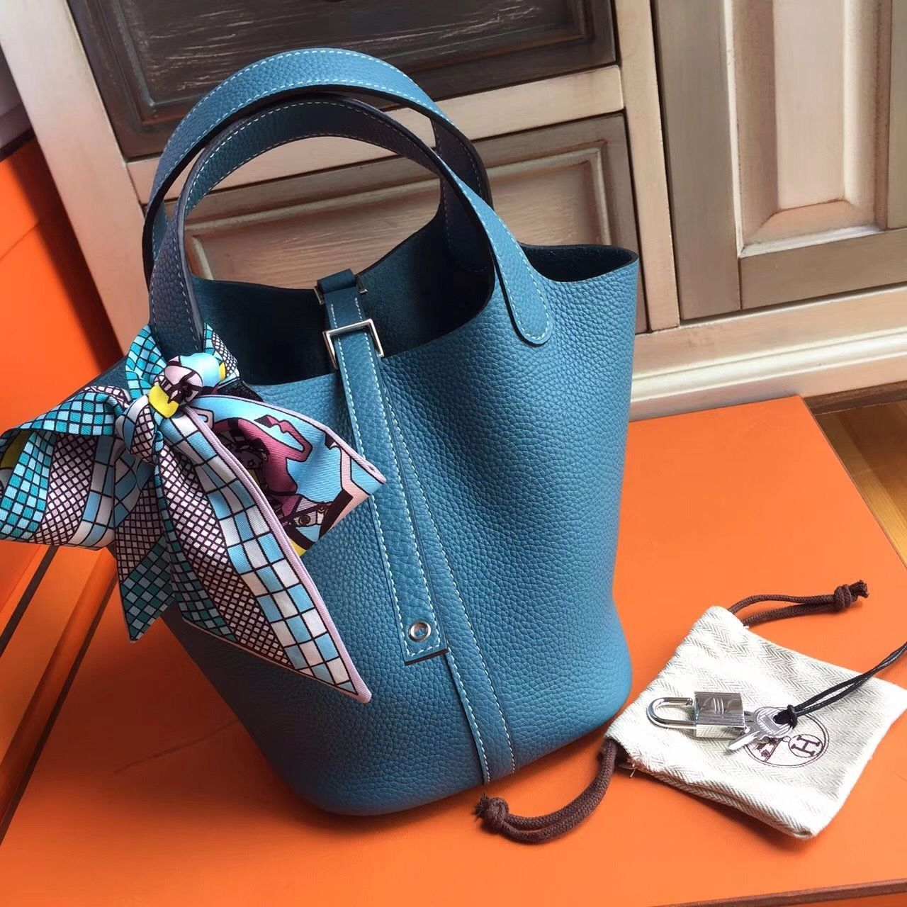 Photo of Hermes 75 Blue Jean Picotin Lock 18 Togo Leather Bag – Hermes Handbags – Ideas o…