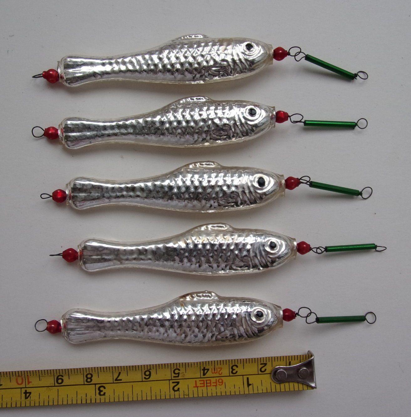 Fish christmas ornaments - Lot Of 5 Vintage Bohemian Mercury Glass Beaded Fish Christmas Ornaments
