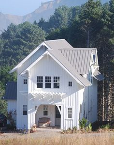 Exterior pics white siding and metal roof House Pinterest