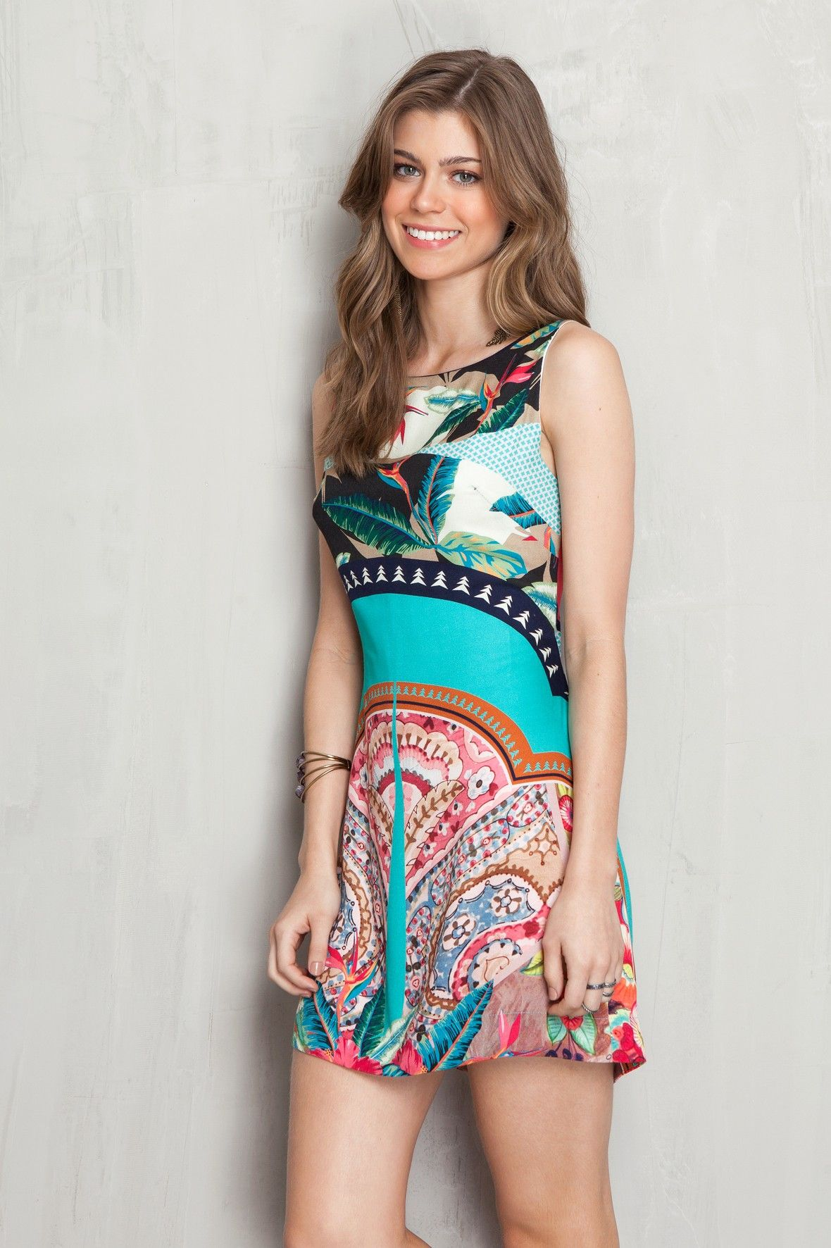 ebaabe446 Vestido estampado lenço patchwork | Dress to | vestidos casuales ...