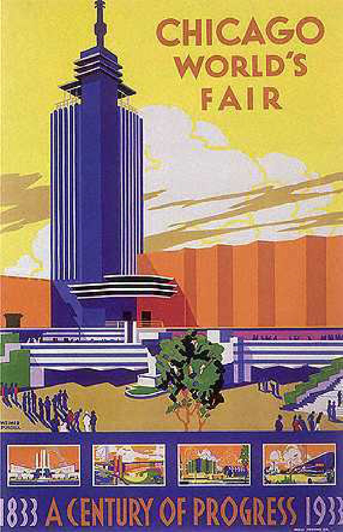 24x36 Chicago World/'s Fair 1934 Vintage Style Travel Poster